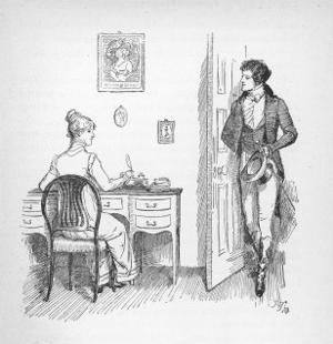 Mr. Darcy Enters a Room in Which Elizabeth Bennet is Seated at Her Writing Desk by Hugh Thomson