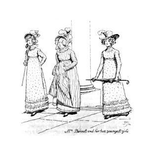 Mrs. Bennet and Her Two Youngest Girls', Illustration from 'Pride and Prejudice' by Jane Austen,… by Hugh Thomson