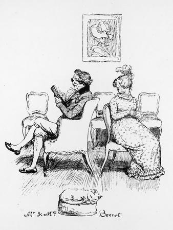 Mrs Bennet Turns to Speak to Her Husband Who is Reading a Book
