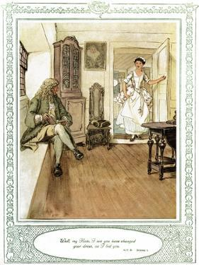 Oliver Goldsmith 's play She Stoops to Conque by Hugh Thomson