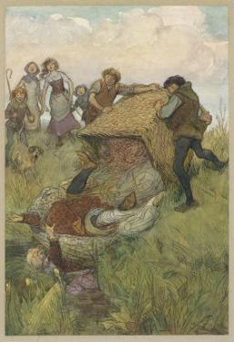 The Merry Wives of Windsor, Act III Scene V: Falstaff is Tipped out of the Laundry Basket by Hugh Thomson