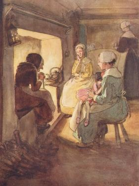 The Old Dame in the Chimney Corner by Hugh Thomson