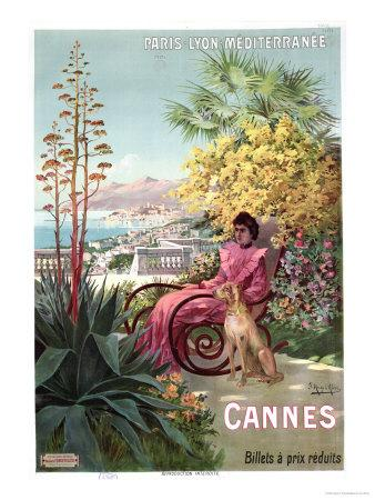 Travel Poster Advertising the Paris-Lyon-Mediterranee Train Line and Holidays in Cannes, 1904