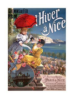 Winter in Nice, Poster Advertising P.L.M Trains by Hugo D' Alesi