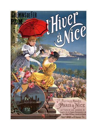 Winter in Nice, Poster Advertising P.L.M Trains