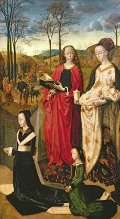 Portinari Altarpiece, St. Mary Magdalen and St. Margaret, Maria Baroncelli and Daughter, c.1479