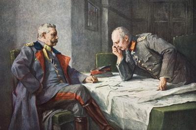 General Von Hindenburg and Generalquartiermeister Erich Von Ludendorff at the Map Table