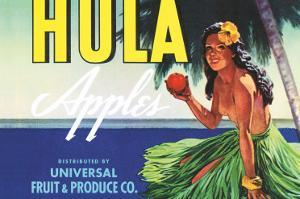 Hula Apples, Crate Label with Topless Hula Girl, c.1930s