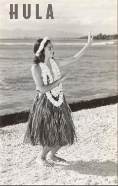 Hula Girl with Lei on Beach