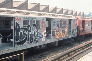 7Th Ave. Subway Train Covered in Graffiti by Hulton Archive