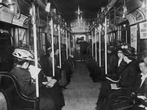 Subway Passengers by Hulton Archive