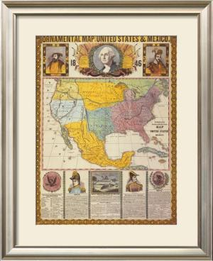 Ornamental Map of the United States and Mexico by Humphrey Phelps