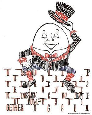 Humpty Dumpty Text Art Print Poster