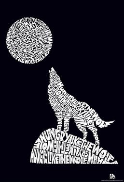 Hungry Like the Wolf Text Poster