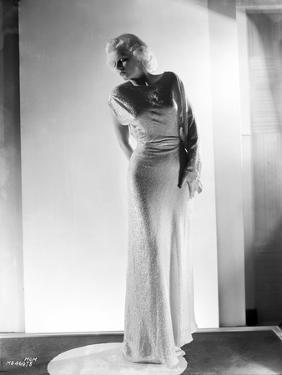 Jean Harlow Posed in White High Neck Long Sleeve Silk Dress with Long Pencil Skirt by Hurrell