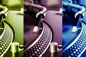 Three Colored Turntable Record Players by hurricanehank