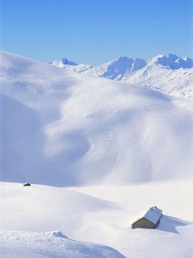 Hut in mountains, winter, Lenzerheide, Graubunden Canton, Switzerland