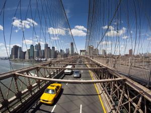 Brooklyn Bridge with South Manhattan in Background by Huw Jones
