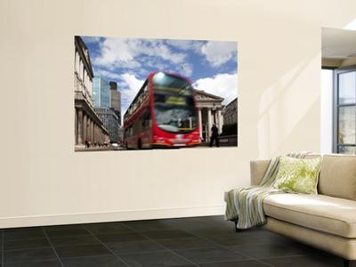 Double-Decker Bus in Threadneedle Street, Centre of the Finacial District by Huw Jones
