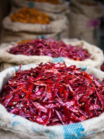Dried Red Chillies at Spice Market by Huw Jones