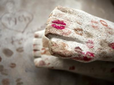 Oscar Wilde's Grave with Lipstick, Pere Lachaise Cemetery by Huw Jones
