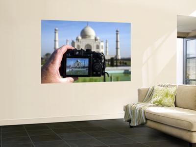 Tourist Taking Picture of Taj Mahal by Huw Jones