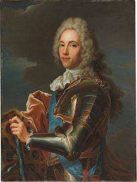 Portrait of the Duc De Broglie, in Sash of the Order of Sainte Esprit, with Baton of a Marshal of… by Hyacinthe Rigaud