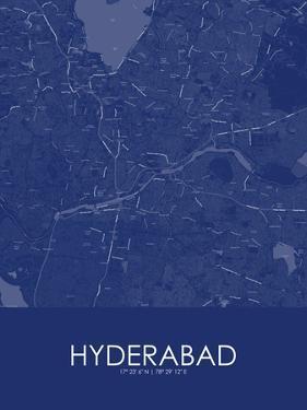 Hyderabad, India Blue Map