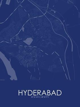 Hyderabad, Pakistan Blue Map