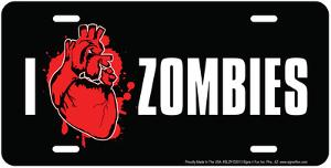 I Heart Zombies Embossed Tin Sign