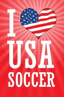 I Love USA Soccer (World Cup, Red) Sports Plastic Sign