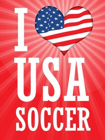 I Love USA Soccer (World Cup, Red) Sports Poster Print