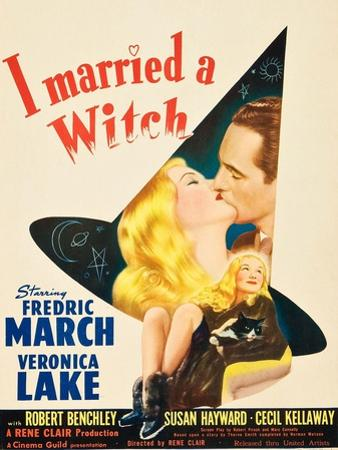 I Married a Witch, Veronica Lake and Fredric March on window card, 1942