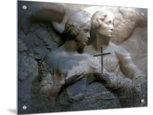 An Angel Couple on Frieze with Cross Overlay by I.W.