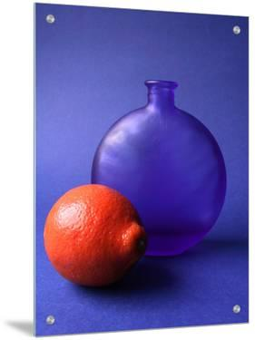 Blue Glass Vase and Orange by I.W.