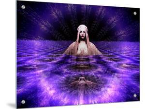 Statue of Woman Surrounded by Ring of Purple Light by I.W.