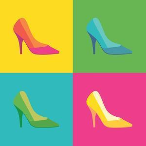 Pop Art High Heel Women Shoes - Illustration. by i3alda