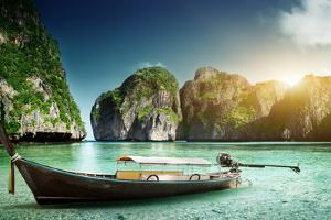 Boat on Sand of Maya Bay Phi Phi Island by Iakov Kalinin