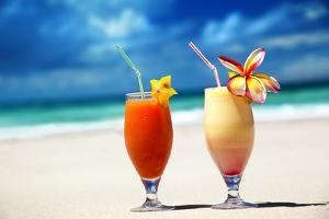 Fresh Fruit Juices on a Tropical Beach by Iakov Kalinin