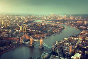 London Aerial View with Tower Bridge in Sunset Time by Iakov Kalinin