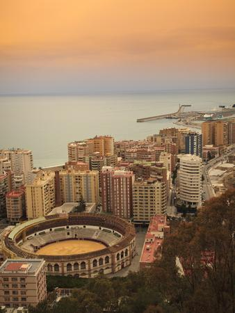 High Angle View of Malaga Cityscape with Bullring and Docks, Andalusia, Spain, Europe