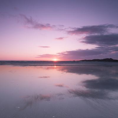 Sunset Reflected in Wet Sand and Sea on Crackington Haven Beach, Cornwall, England, UK, Europe