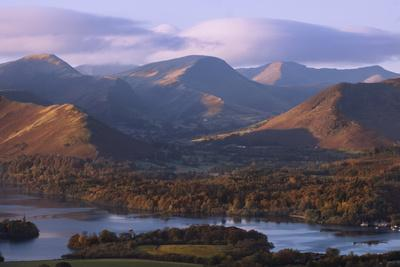 View over Derwentwater of Newlands Valley, Lake District Nat'l Pk, Cumbria, England, UK