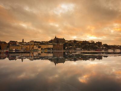 View over the River at Sunset, Djurgarden, Stockholm, Sweden, Scandinavia, Europe