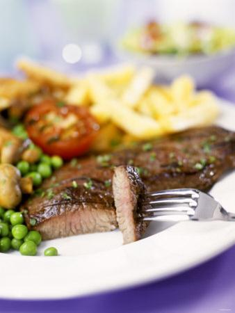 Beef Steak with Vegetables and Chips by Ian Garlick