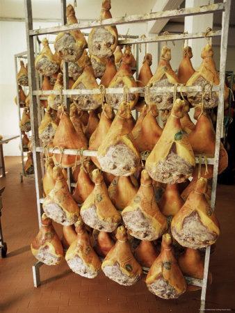 Parma Hams on Curing Racks, Near Pavullo, Emilia-Romagna, Italy