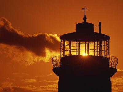 Sun Shining Through Lantern Room of Belle Tout, Beachy Head, Sussex, England, UK