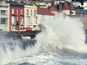 Waves Pounding Sea Wall and Rail Track in Storm, Dawlish, Devon, England, United Kingdom by Ian Griffiths