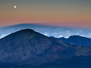 Moonrise over the Haleakala Crater,  Haleakala National Park, Maui, Hawaii. by Ian Shive