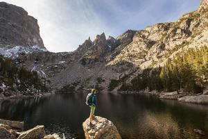 Rocky Mountain National Park, Colorado: An Adult Male Stands Alongside Emerald Lake by Ian Shive